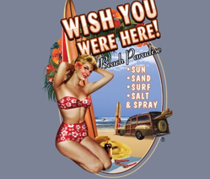 Betty Lou Gallery - Wish You Were Here T-Shirt Design
